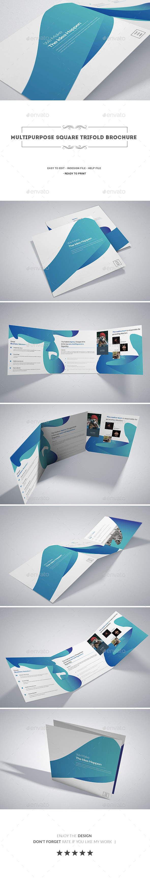 Multipurpose Square Tri-fold Brochure - Corporate Brochures