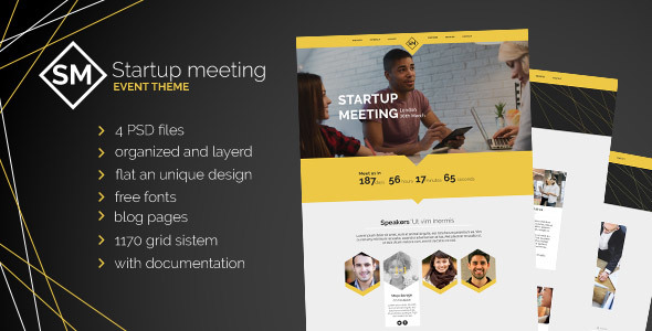 Startup Meeting - Event Website PSD Template - Business Corporate