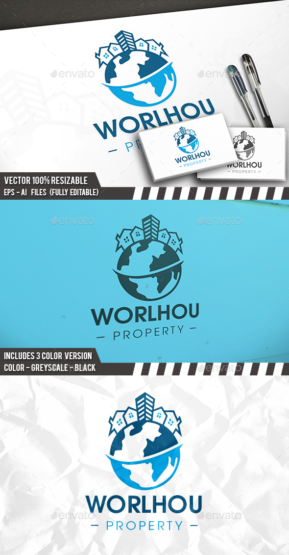 Global Real Estate Logo - Buildings Logo Templates