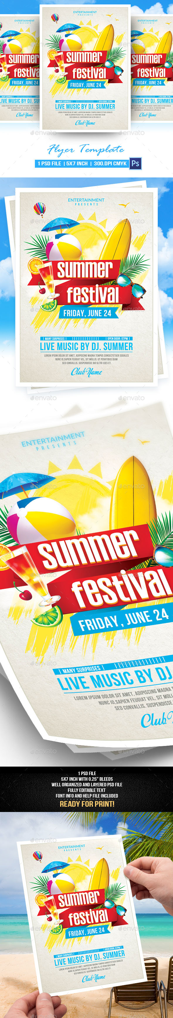 Summer Festival Flyer Template - Events Flyers