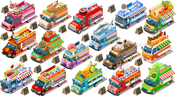 Isolated Fast Food Truck Van Vector 3D Isometric Vehicle Set - Food Objects