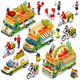 Mexican Food Truck Van Delivery Vector Isometric Vehicle Set