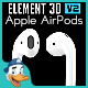 Apple AirPods for Element 3D - 3DOcean Item for Sale