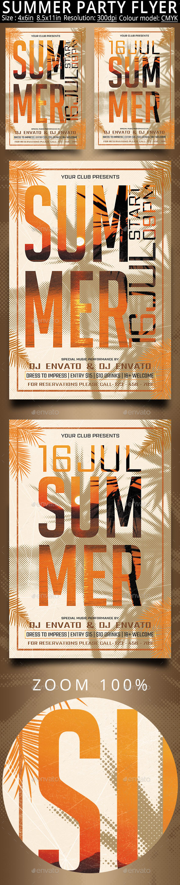 Summer Party Flyer Poster - Clubs & Parties Events