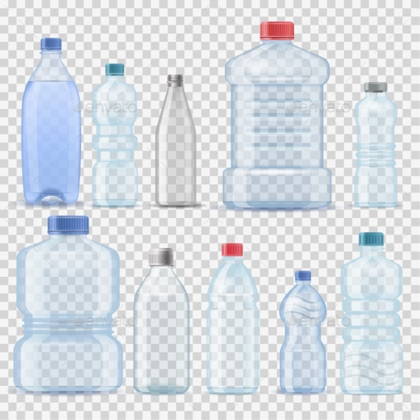Transparent Water Plastic Clean Bottle 3d - Food Objects