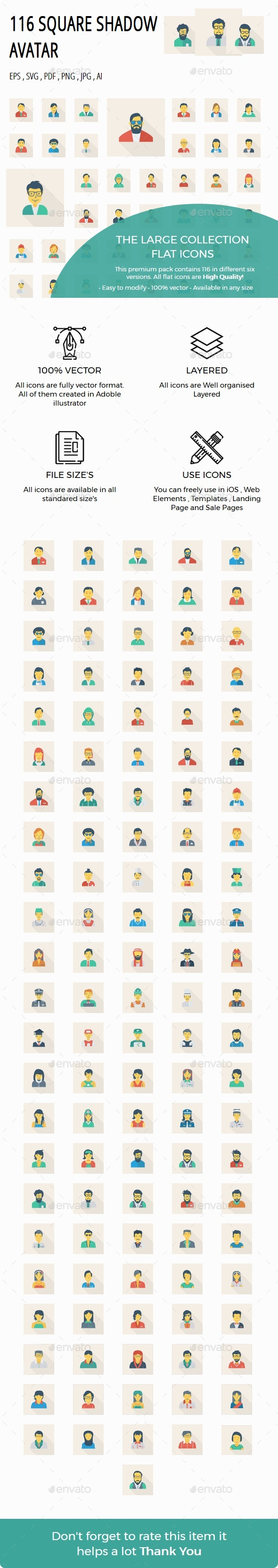 100 Avatar Flat Square Shadow - People Characters