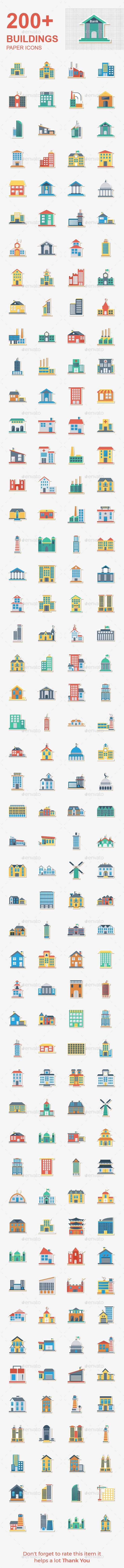 200 Building Flat Paper - Buildings Objects