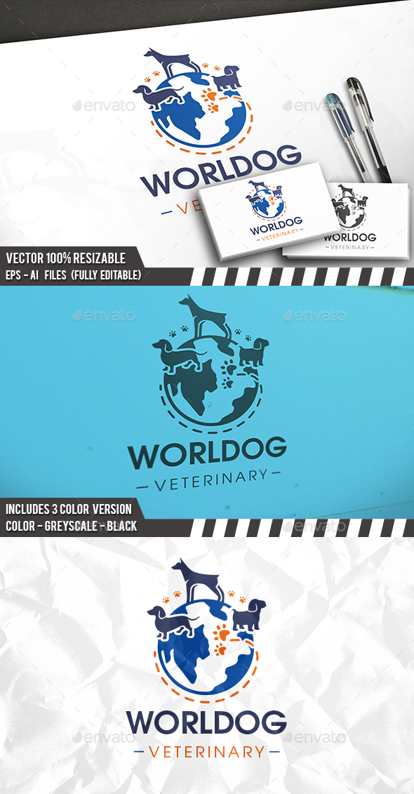 Dog Planet Logo - Animals Logo Templates