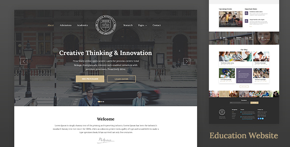 Education Website Template for School, College & University — Unisco HTML - Business Corporate