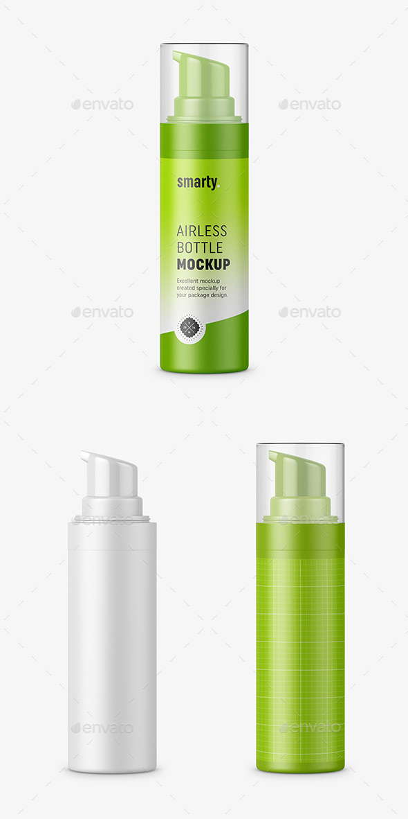 Plastic Airless Bottle Mockup - Beauty Packaging