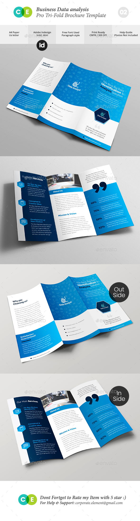 Pro Business Data Analysis Tri-fold Brochure V02 - Brochures Print Templates