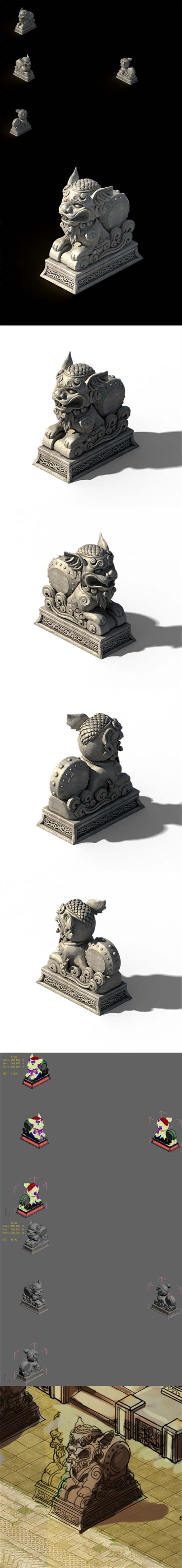 Lin an City - Dali Temple - Stone Lion - 3DOcean Item for Sale