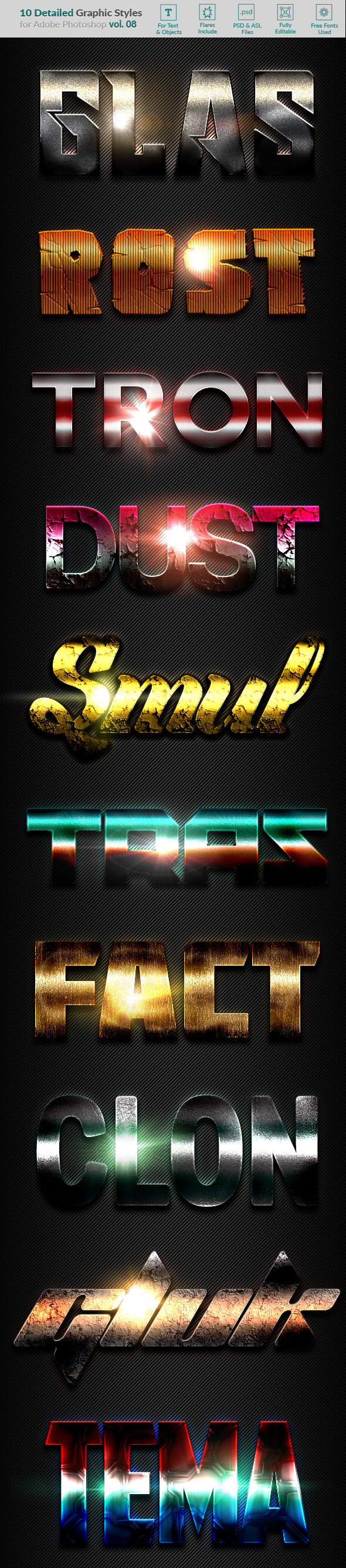 10 Text Effects Vol. 08 - Styles Photoshop