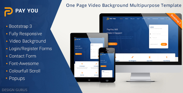 PayYou - Bootstrap 3 One Page Video Background MultiPurpose Responsive Template - Site Templates