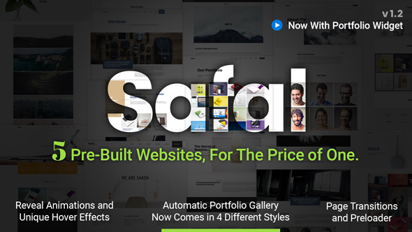 Safal: 5-in-1 Responsive Multipurpose Adobe Muse Theme | Free Widgets