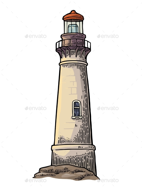 Lighthouse Isolated on White Background - Buildings Objects