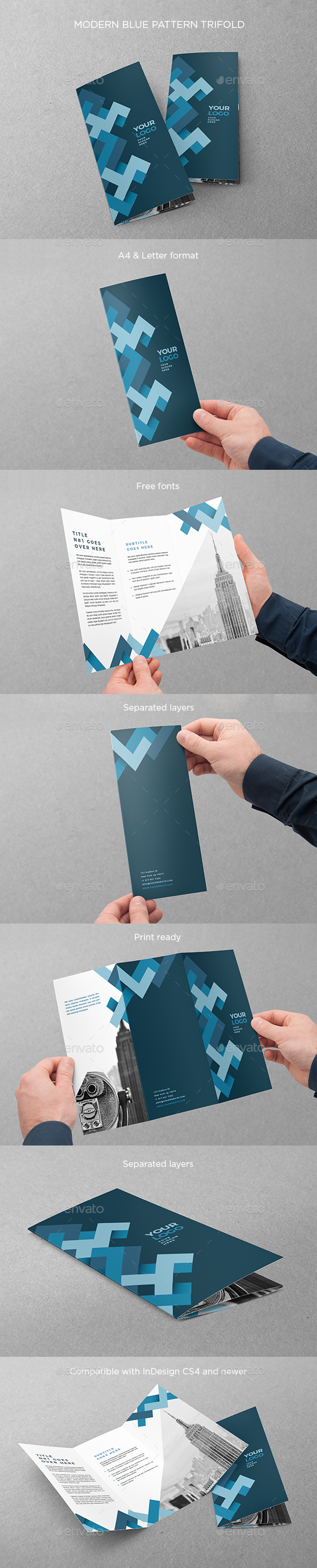 Modern Blue Pattern Trifold - Brochures Print Templates