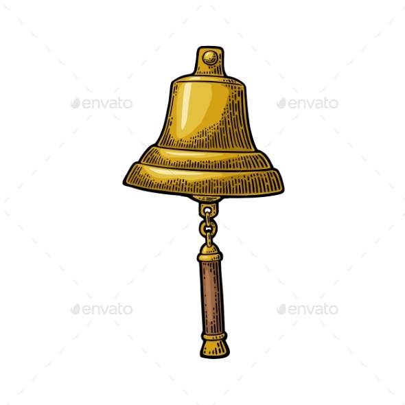 Bell From Sailing Ship Isolated White Background - Miscellaneous Vectors