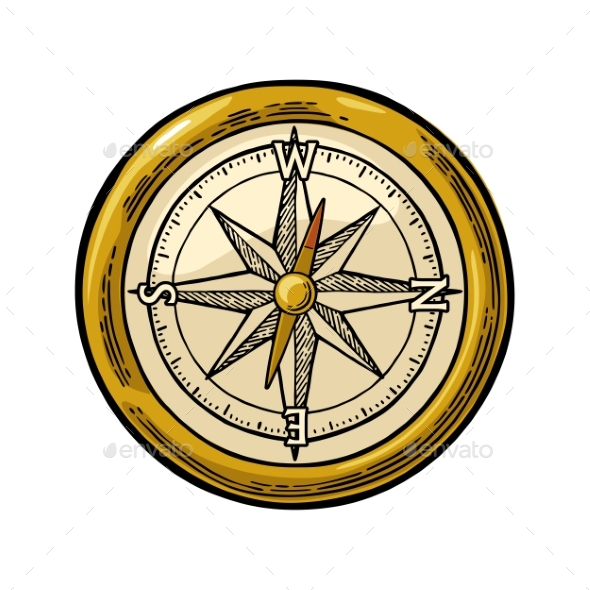 Compass Rose Isolated on White Background - Miscellaneous Vectors