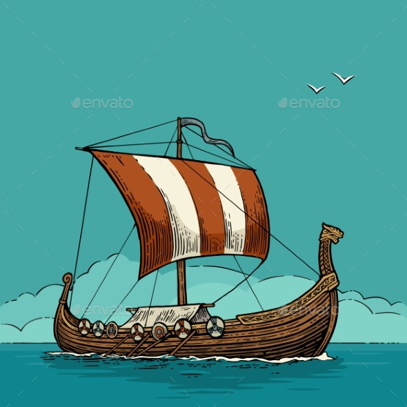 Drakkar Floating on the Sea Waves - Man-made Objects Objects