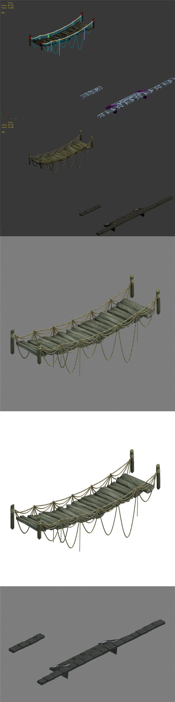 Labyrinth Sling Bridge - Stairs - 3DOcean Item for Sale