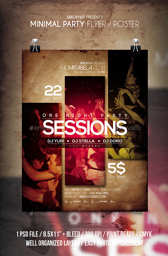 Minimal Party Flyer / Poster - Clubs & Parties Events