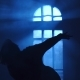 Girl Silhouette Dancing Contemporary in Backlight of Moonlight From Window