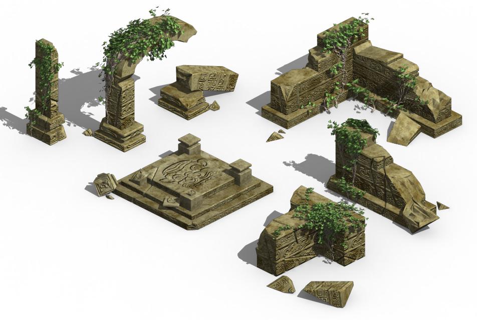 Ancient ruins - altar damaged parts 02