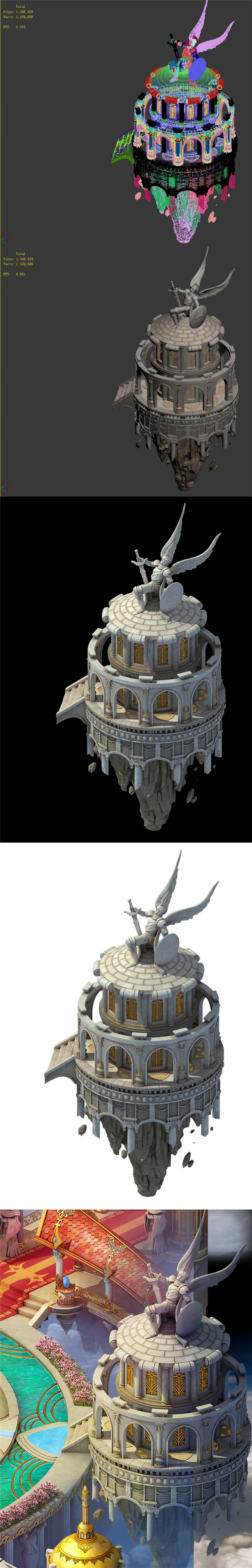 God of the country - white small turret - 3DOcean Item for Sale