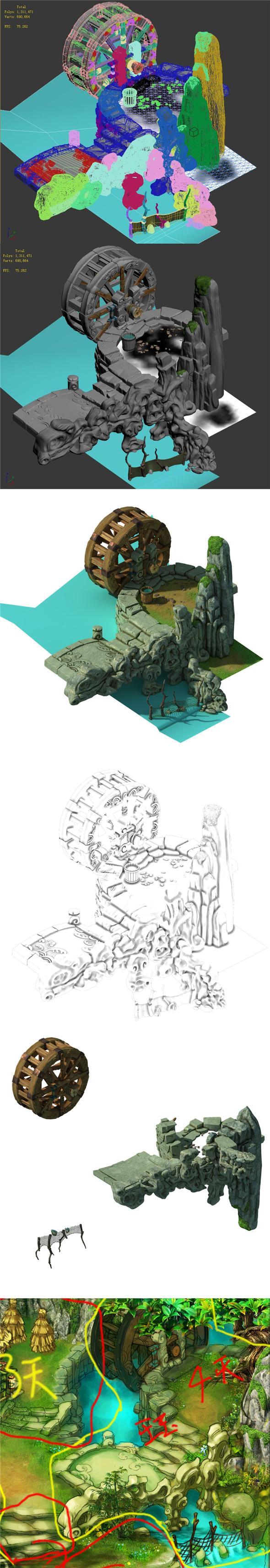 Taihu Lake coast - waterwheel - 3DOcean Item for Sale