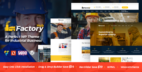 Factory HUB - Industry / Factory / Engineering and Industrial Business WordPress Theme - Business Corporate