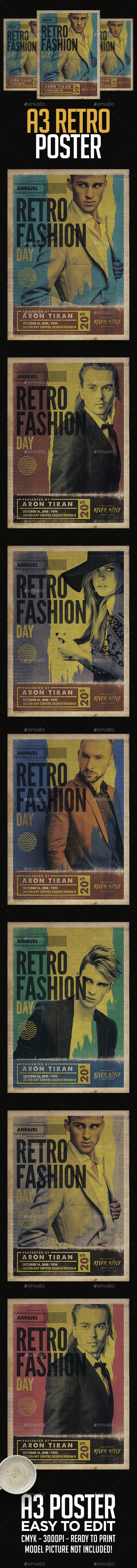 A3 Retro Fashion Day Poster Template - Clubs & Parties Events