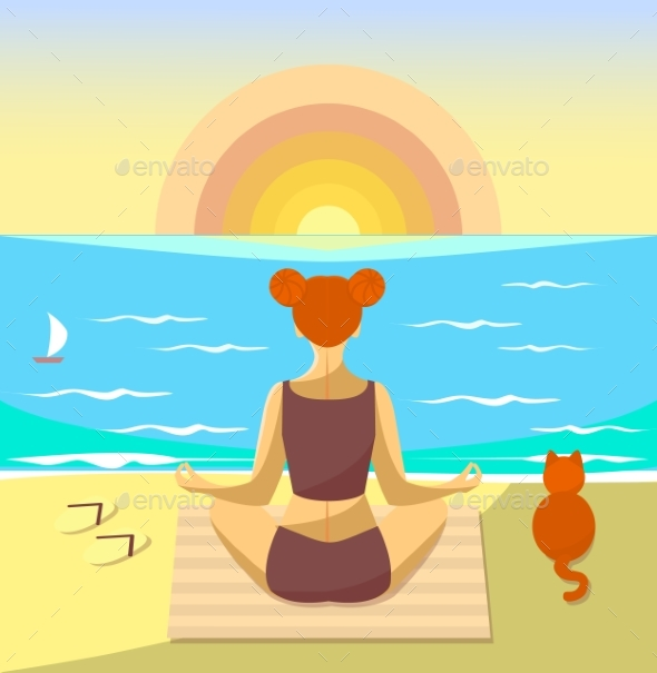 Woman Meditating on a Beach. Vector Illustration - Sports/Activity Conceptual