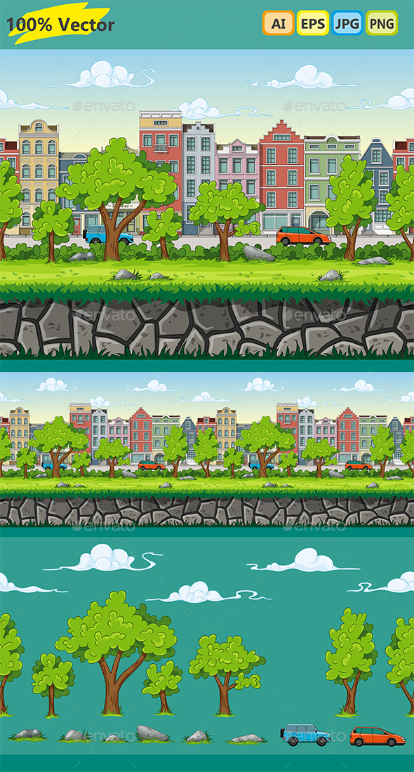 2D Game Background Walking Through the Park - Backgrounds Game Assets