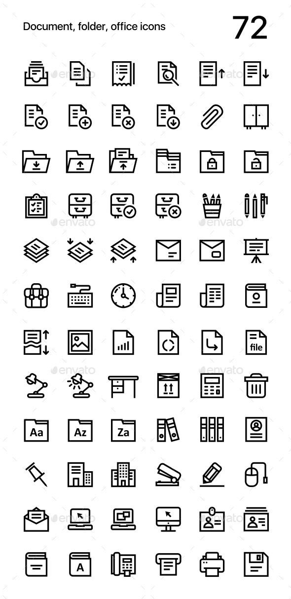 Document, Folder, Office Icons Pack for Web and Mobile Apps - Business Icons