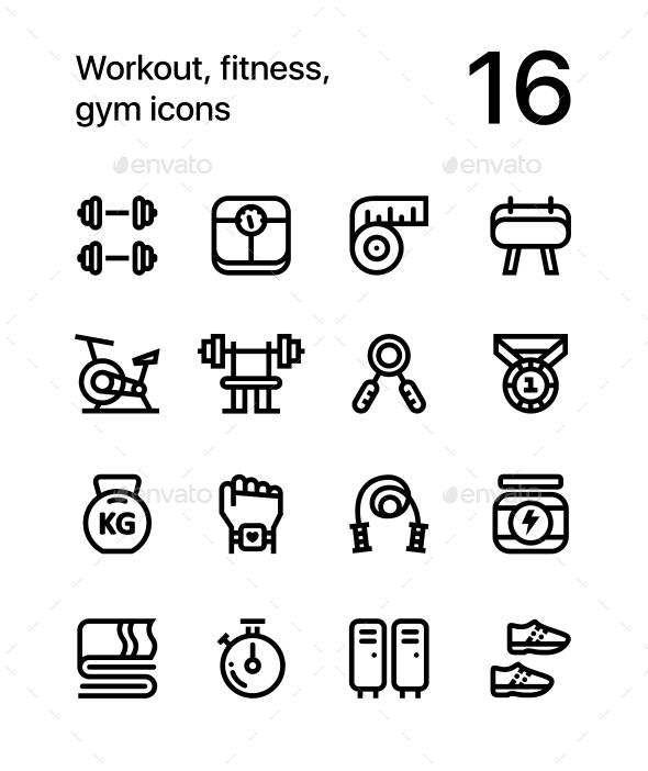 Workout, Fitness, Gym Icons for Web and Mobile Design Pack 1 - Miscellaneous Icons