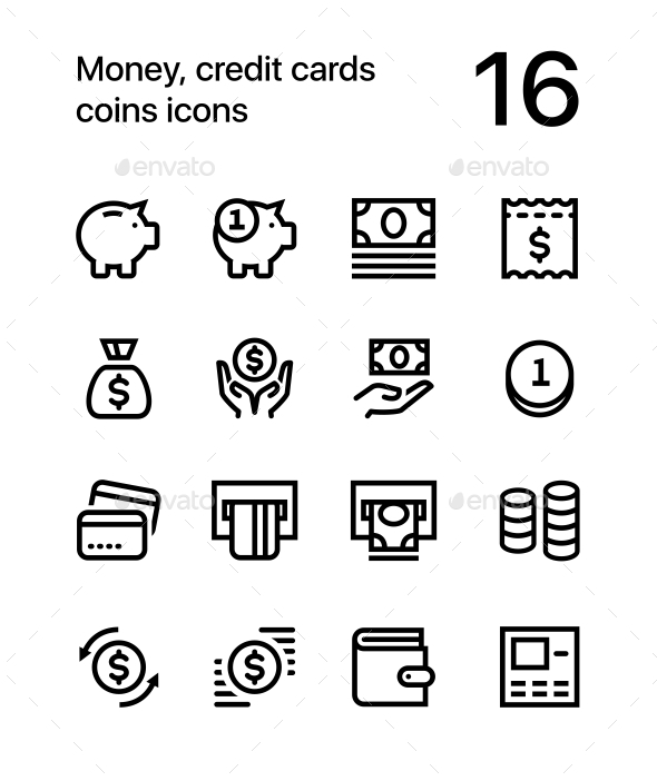 Money, Credit Cards, Coins Icons for Web and Mobile Design Pack 1 - Business Icons