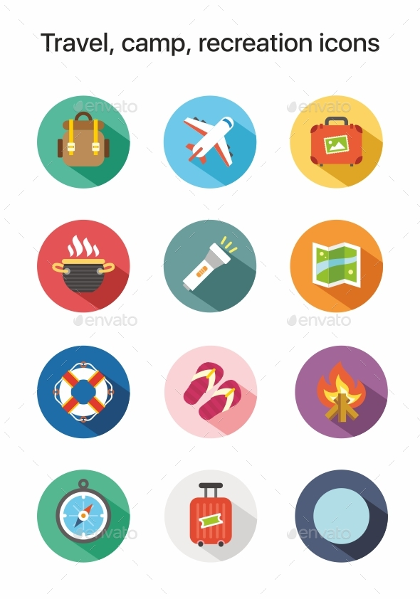 Travel, Camp, Recreation Flat Colored Vector Icons - Miscellaneous Icons