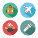 Travel, Camp, Recreation Flat Colored Vector Icons