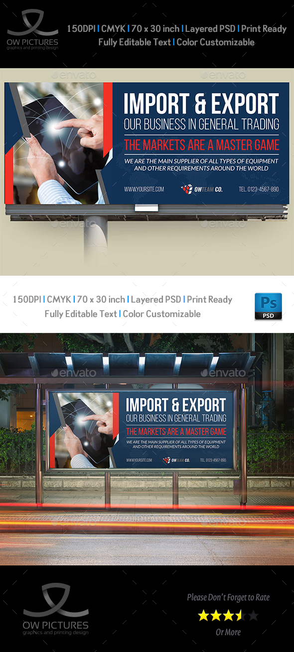 Trading Company Billboard Template - Signage Print Templates