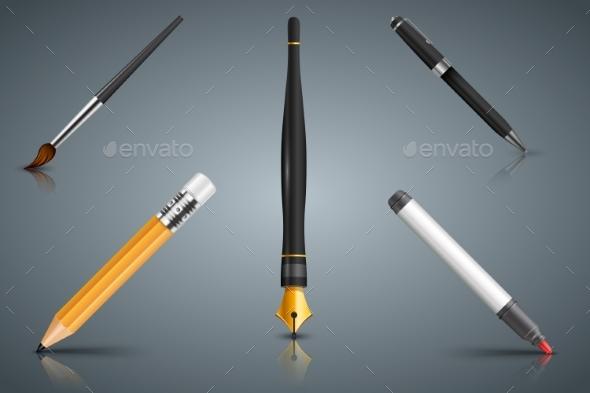 Set Icon Brush, Pencil, Marker, Pen, Ink - Miscellaneous Vectors