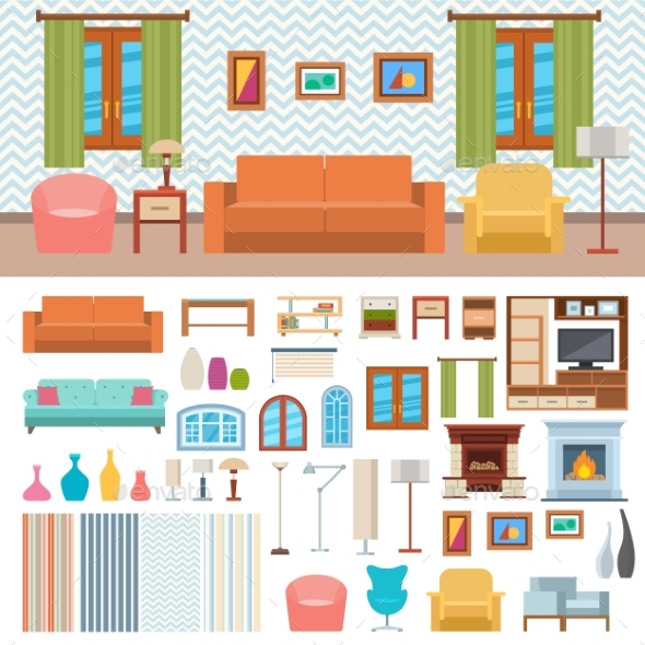 Furniture Room Interior Design and Home Decor - Objects Vectors