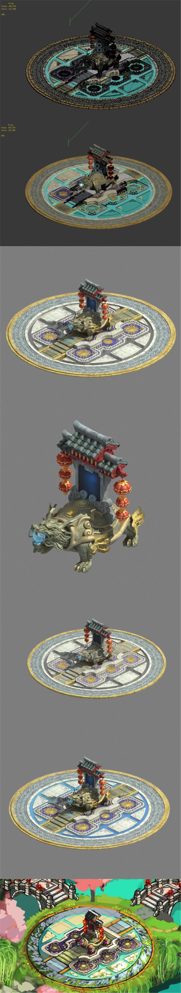 Xinshoucun - Long turtle stone decoration - 3DOcean Item for Sale