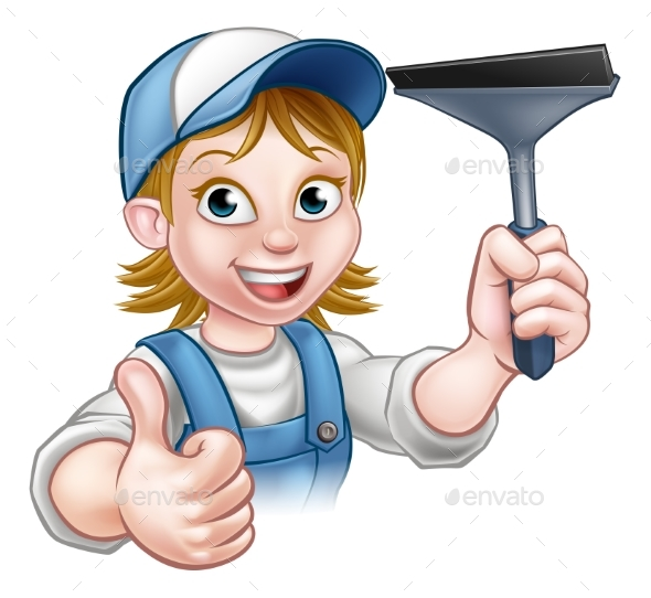 Cartoon Female Window Cleaner Character - People Characters