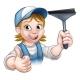 Cartoon Female Window Cleaner Character