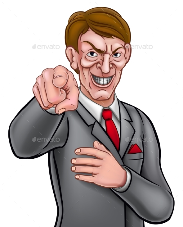 Evil Pointing Businessman - People Characters