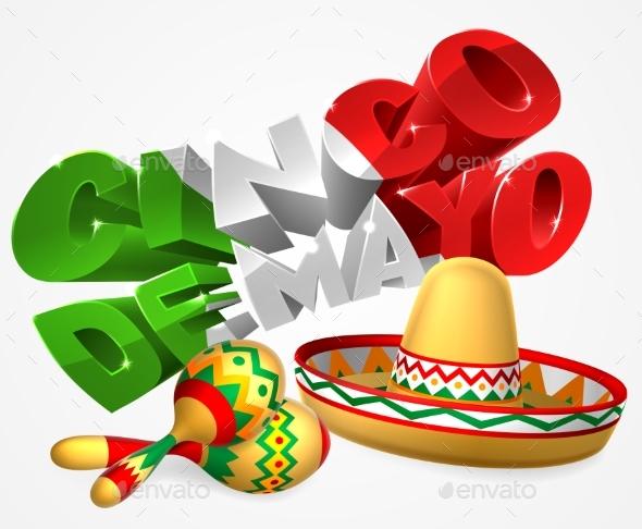 Cinco De Mayo Sign With Sombrero and Maracas - Seasons/Holidays Conceptual