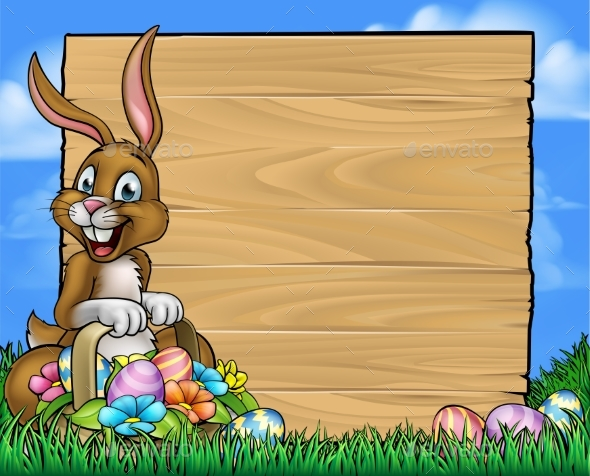 Cartoon Easter Bunny Eggs Background Sign - Miscellaneous Vectors