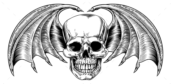 Winged Skull Grim Reaper - Miscellaneous Vectors
