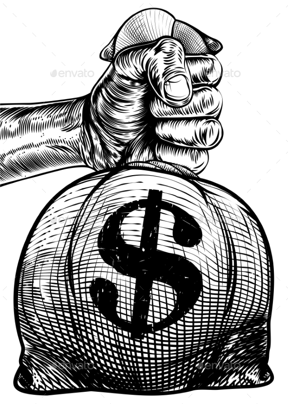 Hand Holding a Dollar Sign Burlap Sack Money Bag - Miscellaneous Vectors